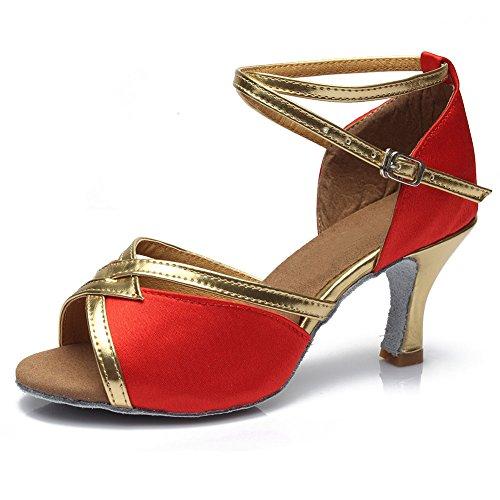 Femmes 7cm Danse Danse Chaussures 225 HROYL Ballroom Latine Modèle Chaussures de Satin de Rouge q7xYgt