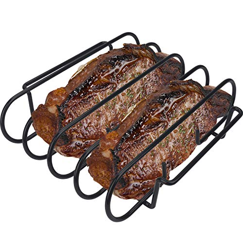 KALREDE Rib Rack BBQ - Non-Stick Rib Holder for Grilling 4 Holds  - Heavy Duty Black Grill Racks - Outdoor Barbecue Accessories ()