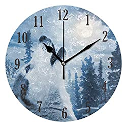 senya Wall Clock, Round Wolf Silent Non Ticking Battery Operated Easy to Read Clock for Indoor Decor Living Room, Bedroom