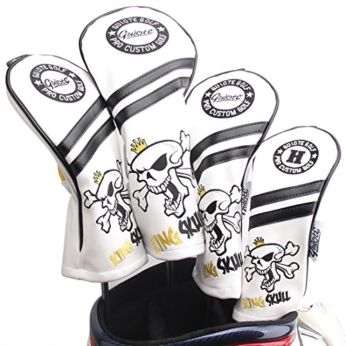 Guiote King Skull Golf Headcover #1#3#5 H Set PU Leather Vintage Style Emboridery Replaceable Number tabs (White)