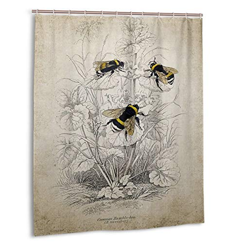 (BLI Shower Curtain Vintage Bumble Bee Illustration Style Printing Bath Curtain with Hooks for Bath Decorations)