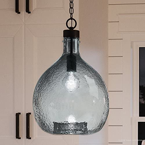 Luxury Modern Farmhouse Pendant Light, Medium Size 20.375 H x 13 W, with Mediterranean Style Elements, Olde Bronze Finish, UHP2771 from The Hobart Collection by Urban Ambiance