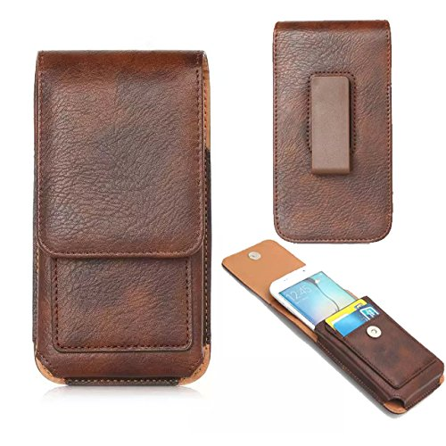 (Universal PU Leather Belt Clip Case Cell Phone Holster Pouch Cards Holder Compatible iPhone Xs Max/Moto Z3 Play / E5 Plus/Google Pixel 3 XL/ZenFone 5Q / AR/OnePlus 6T / HTC U12 Plus (Brown))