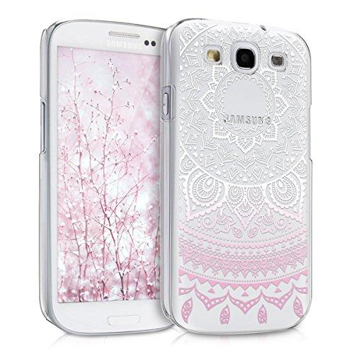 kwmobile Crystal Case Hülle für Samsung Galaxy S3 / S3 Neo mit Indische Sonne Design - transparente Schutzhülle Cover klar in Rosa Weiß Transparent