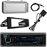 Kenwood KMMBT322U Bluetooth Radio, 4x 6.5 Black Speakers, Bag Covers, Adapters, 4-Ch. Amplifier, Amp Kit, Harley Wiring Kit, Weathershield, Dash Kit, Antenna, 16-G 50 Ft Wire (Select 98-13 Harleys)