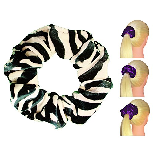 Zebra Velvet Scrunchies Premium Plush Soft Ponytail Holders Scrunchie King Made in USA