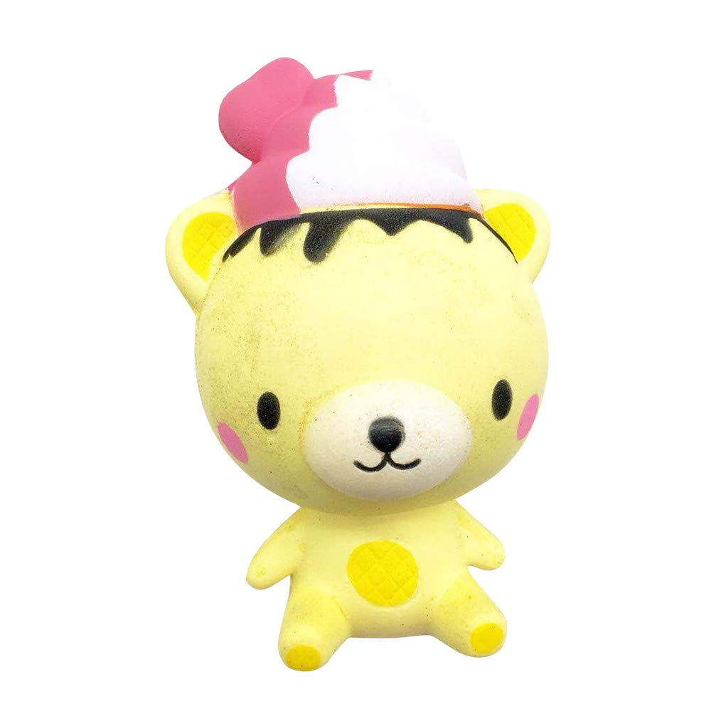 Binory 13cm Exquisite Yellow Fun Q Poo Bear Scented Charm Slow Rising Toy,Squeeze Squishies Decompression Toy,Phone Strap Stress Reliever,Bedroom Desk Decoration,Adult&Children