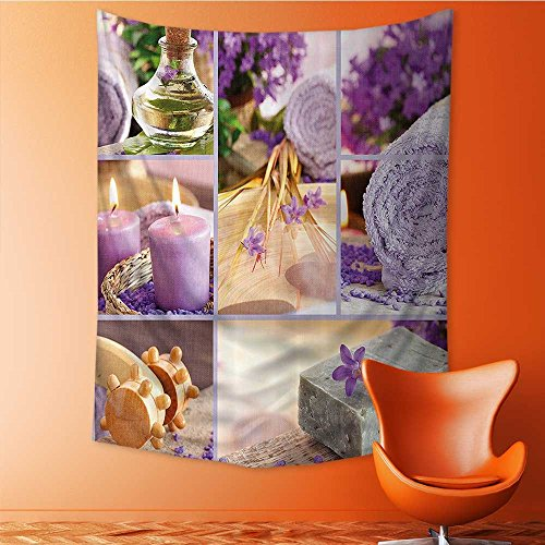 SeptSonne Art Decorative Lavender Themed Relaxing Joyful Spa with Aromatherapy Oils and Candles Bathroom Wall Hanging Bedspread multi purpose tapestries 70W x 93L INCH by SeptSonne