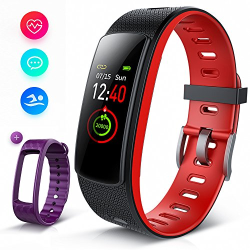 Fitness Tracker With Heart Rate Monitor, iWOWNFit i6HRC Fitness Watch : Activity Tracker Smart Band with color screen, Sleep Monitor, Smart Bracelet Pedometer Bluetooth Wristband with Replacement Band