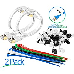 Maximm Cat7 Flat Ethernet Cable - 2 Ft. - White - 2 Pack - RJ45 Gold-plated Connectors. 600 MHz, For Computers Network Components - Includes Cable Ties, Labels and Clips