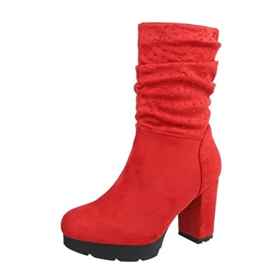 bdcb88829603 Ital-Design Women s Boots Kitten Heel Heeled Ankle Boots Red Size 7.5 UK