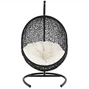 Hanging Patio Lounge Chair Espresso White Cushion
