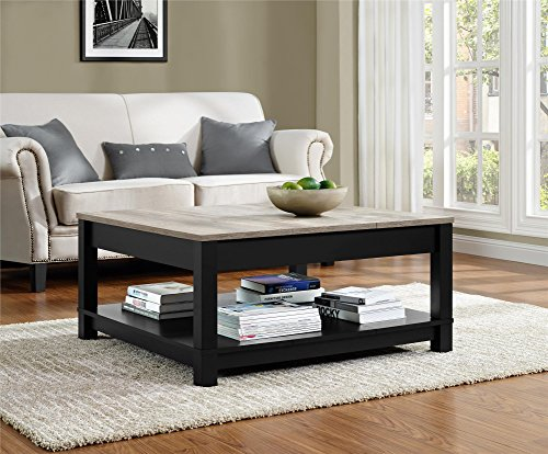 Ameriwood Home Carver Coffee Table, Black (Coffee Ottoman Living Room Table)