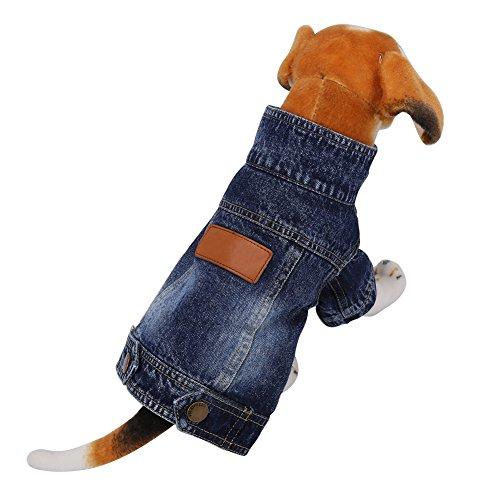Dog Jeans Coat Dog Jeans Jacket Dark Blue Pet Denim Coat Dog Cat Puppy Coat Apparel 5 Sizes Optional(L)