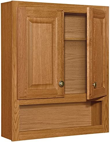 Style Selections 23-in x 28-in Ready-to-Assemble 2 Door Bathroom Wall Wood Medicine Cabinet, Honey Oak