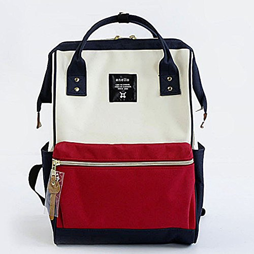 Lotte My Beauty Day The Student Backpack School Bags Backpack Shoulder Bag, Women Fashion, Red Violet And Blue