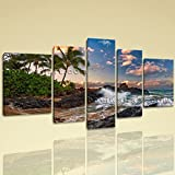 Large Maui Hawaii Pacific Ocean Sea Wave Wall On Canvas 5 Pieces print, Extra Large Sea Wave Wall Art, Living Room, Kilamanjaro