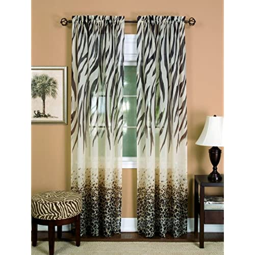Achim Home Furnishings Kenya Curtain Panel 50 Inch By 63 Brown
