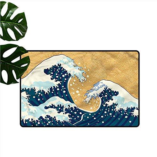 (DUCKIL Washable Doormat Japanese Wave Foamy Sea Storm Durable W20 xL31)