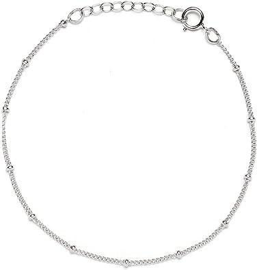 925 Sterling Silver Rose Gold Beaded Friendship Adjustable Slider Bracelet