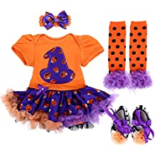 TANZKY Baby Girls Pumpkin Costume My first Halloween Princess Party Dress 4PCS