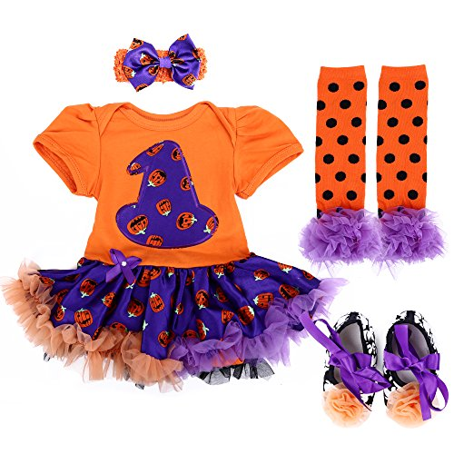 [TANZKY Baby Girl's Halloween Costumes Pumpkin Outfit Tutu Dress 4pcs US Size 6M] (Cute Baby At Halloween)