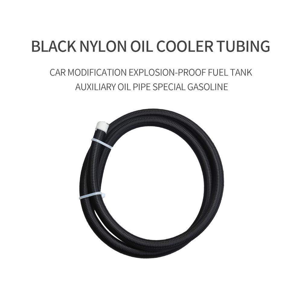 AN-6 5//16 NYLON Braided PTFE Fuel line Hose Oil Cooler Hose for Fuel,Oil,Water,Coolant,Methanol 1 Meter//3.3 Ft Black