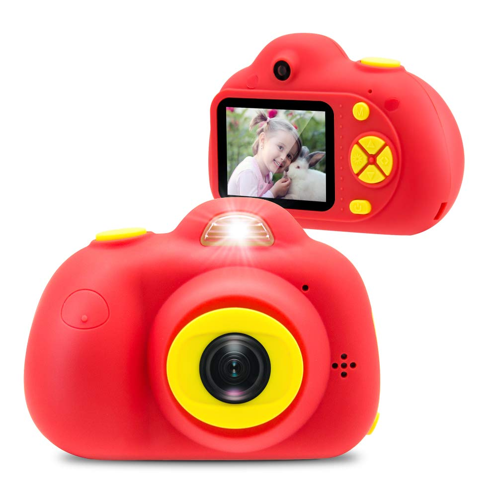 [16GB Memory Card Included] Veroyi Kids Camera 8.0MP Rechargeable Digital Front and Rear Selfie Camera Child Camcorder, Toys Gift for 4-10 Years Old Boys and Girls (Red)