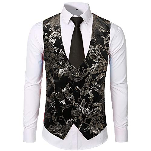 AopnHQ Men's Casual Fashion Fleece Stamping Single-Breasted Vest Silver