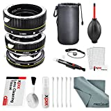 Xit Auto Focus Macro Extension Tube Set for Canon SLR Cameras XTETC with Deluxe Accessory Bundle and Xpix Cleaning Kit