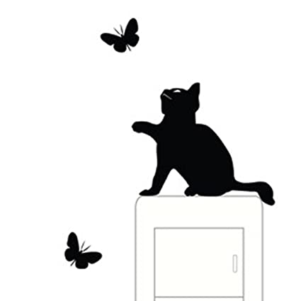 Pocciol Lovely Wall Stickers, Cute Room Window Wall Decorating Switch Vinyl  Decal Sticker Decor Cartoon (Small Cute Cat)