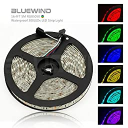Blue Wind Led Strip Lighting 5M 16.4 Ft 5050 RGB 300leds Waterproof Flexible Color Changing Full Kit with 44 Keys IR Remote Controller +Control Box+ 12v 5A Power Supply
