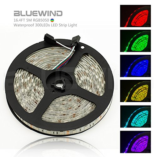 Blue Wind 16.4FT 5M SMD 5050 Waterproof 300LEDs RGB Color