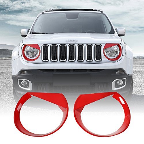 (JeCar ABS Headlight Trim Angry Bird Head Lights Lamp Cover for Jeep Renegade 2015 2016 2017 2018 (Light Cover-Red))