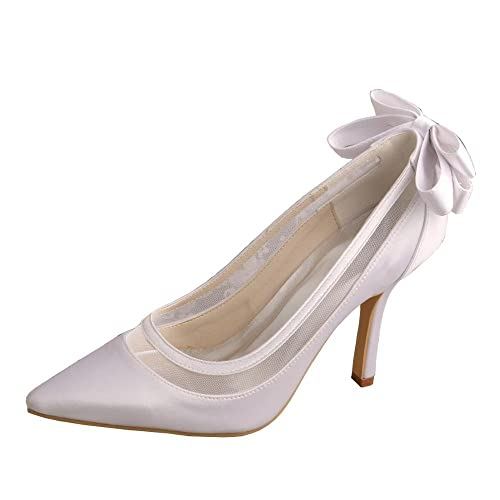 Wedopus MW436 Women s Satin Pointed Toe Stiletto Heel Bowtie Wedding Shoes  for Bride Size 1 White a12071546200