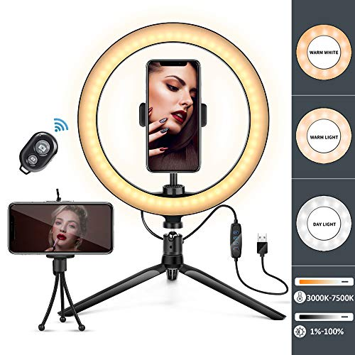 """10"""" LED Ring Light with Tripod Stand & Phone Holder, Dimmable Desk Makeup Ring Light 3 Light Modes,Remote Control for iPhone & Android, Perfect for Selfie Live Streaming & YouTube Video Photography"""
