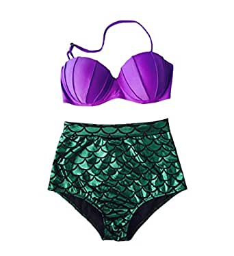 Blugibedramsh Women's Glitter Mermaid Bikini High Waist Swimsuit Sexy Bikini Purple1 S=US 2-4