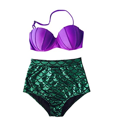 Blugibedramsh Women's Glitter Mermaid Bikini High Waist Swimsuit Sexy Bikini Purple1 S=US 2-4 -