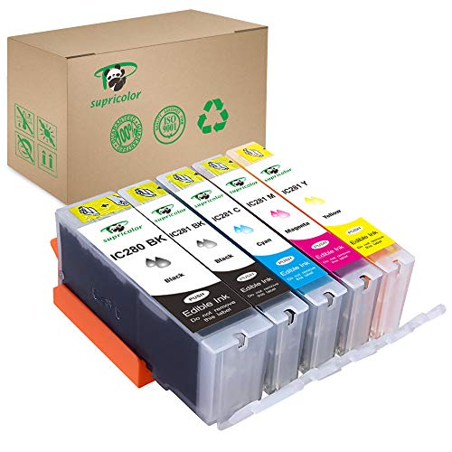 Supricolor Edible PGI-280XXL CLI-281XXL Ink Cartridges, Replacement Edible Ink for PGI 280 XXL CLI 281 XXL 5 Color (1BK, 1PB, 1C, 1M, 1Y) Use with PIXMA TR8520 TR7520 TS6120 ()
