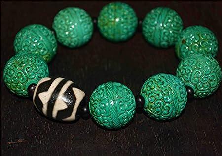 tibetan prayer worry hand-carved dzi bead old glass amulet Beads 5