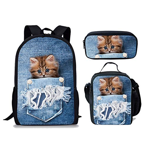 ThiKin Casual Denim Cat Teens Backpack Set Soft School Book Bags for Kids 3 in 1 -