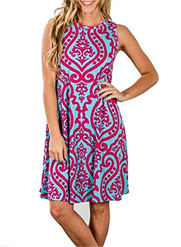 Luranee Boho Dresses for Women, Girls Sleeveless A Line Dress Damask Fabric Pleating Details Flowing Hem Colorful Printings Clothing Casual Above Knee Tunic Long Magenta Large -