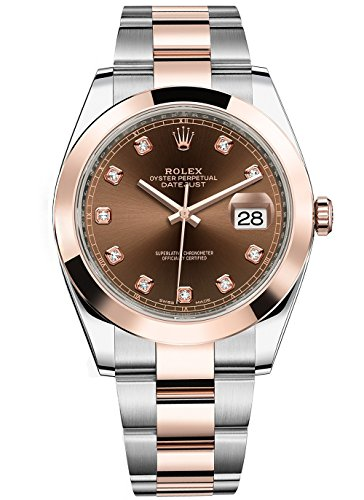 Rolex Datejust 41 Stainless Steel & Everose Gold Oyster Watch Chocolate Diamond Dial