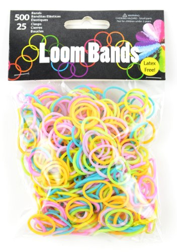 Touch of Nature 500 Value Pack Loom Bands, Assorted, Includes 25 Plastic Claps, Pastel Green/Orange/Pink/Purple/Yellow/Turquoise ()