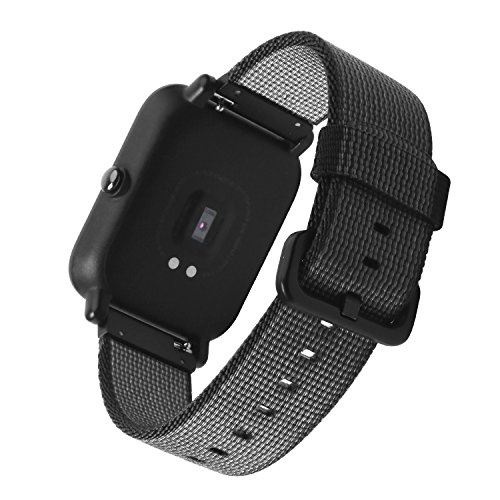 20mm Nylon Watch Band SIKAI Quick Release Universal Woven Nylon Replacement Strap for Samsung Gear Sport/Ticwatch E/Amazfit Bip/Garmin Vivomove Nylon Bracelet (Black)