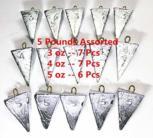 Kathy store INC Pyramid Sinker/Fishing Sinkers - Assorted Weights (5 LB) (5 LB - 3oz \ 4oz \ 5oz)