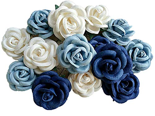 NAVA CHIANGMAI Artificial Mulberry Paper Big Rose Flower for Wedding Floral Arrangements and Home Decoration 40-45 mm.15 pcs. (Blue) from NAVA CHIANGMAI FLOWERS