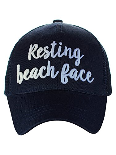 - C.C Ponycap Color Changing 3D Embroidered Quote Adjustable Trucker Baseball Cap, Resting Beach Face, Navy