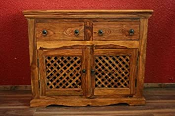 Schrank Anrichte 100x80x40 Holz Massiv Sheesham Honigfarben