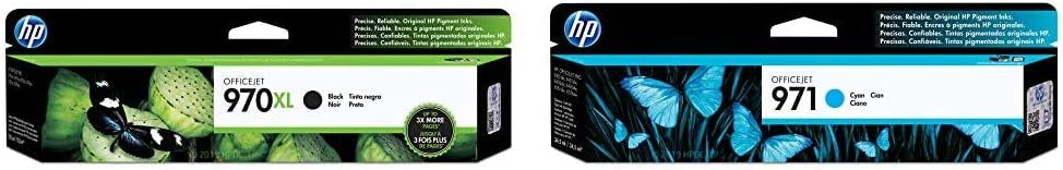 HP 970 | PageWide Cartridge High Yield | Black | CN625AM & 971 | PageWide Cartridge | Cyan | CN622AM